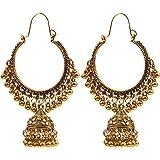 Beiswe Boho Vintage Indian Ethnic Pearl Drop Earrings Jewelry Antique Gypsy Tribal Oxidized Gold Tassel Chandelier Earrings (