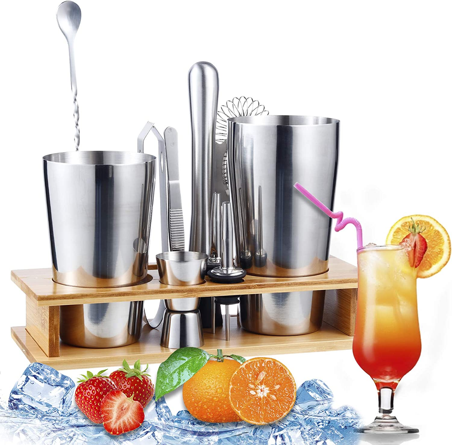 11pcs CocktailShakerSetBartenderKit with Stand,Perfect Home Bar Kit Have Cocktail Shaker, Muddler, Jigger, Strainer, & Recipes, and More