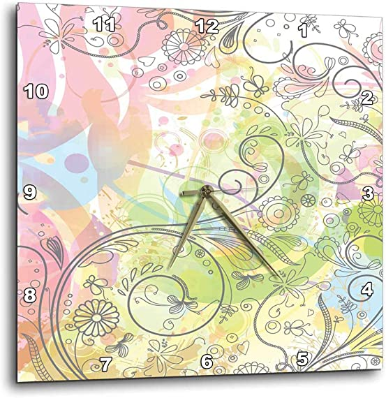 3dRose Cute Graphic Flowers, Flourishes, and Butterflies Against A Pastel Grunge Background – Wall Clock, 10 by 10-Inch DPP_78601_1