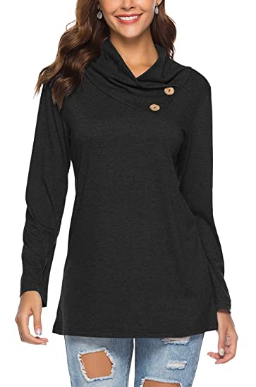 2f718adf3b485 PinUp Angel Black Cowl Neck Tops for Women Asymmetrical Full Long Sleeve  Button Blouse Shirt