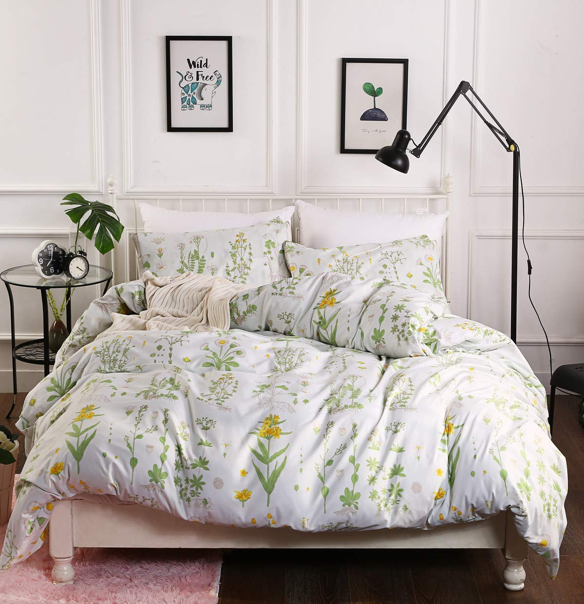 ADASMILE A & S Pastoral Style Floral Plant Canary Yellow Kids Girls 2 Pieces Duvet Cover Set with Zipper Twin (68''x90'')-(1 Duvet Cover + 1 Pillow Shams)-Ultra Soft Hypoallergenic Microfiber