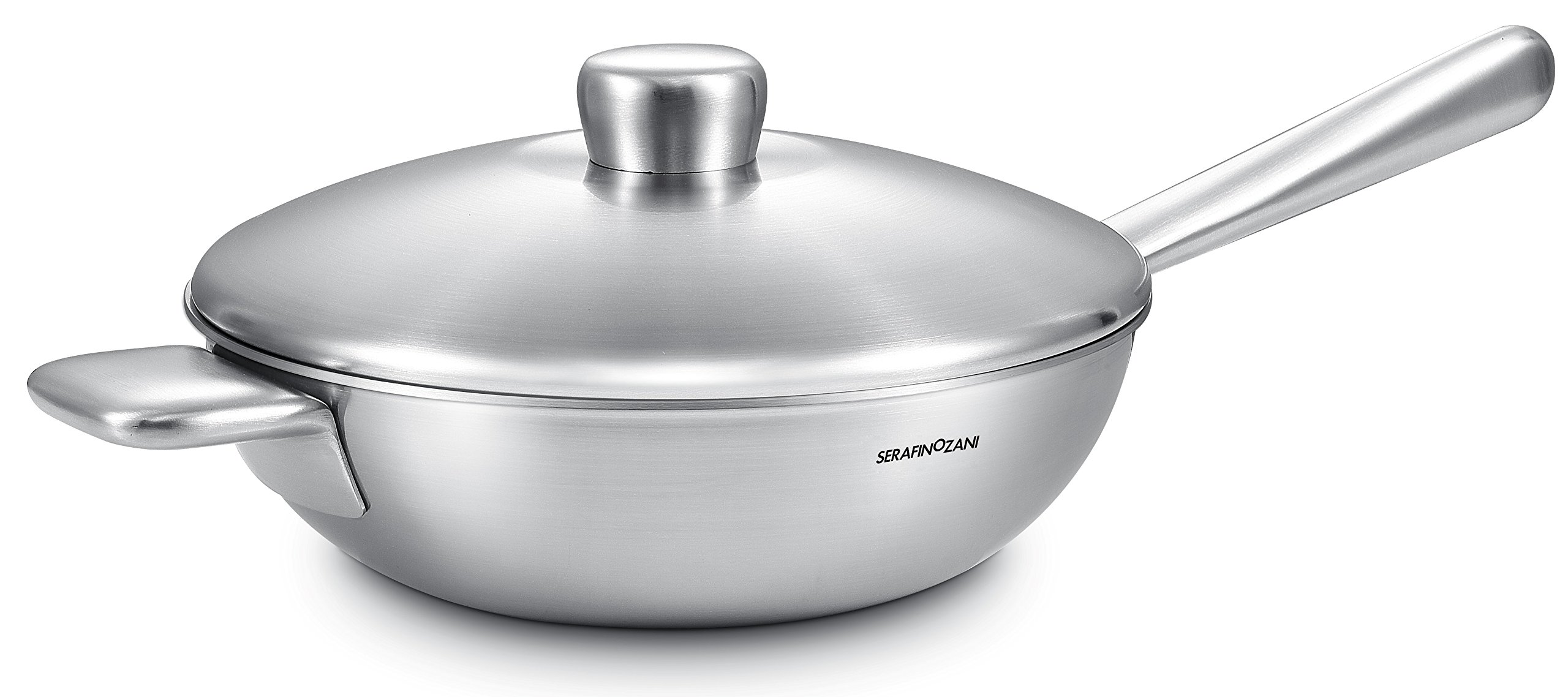 SERAFINO ZANI IHC CURIE Series Temperature Controlled 230℃ (466°F) 18/10 Stainless Steel 32CM (12-Inch) Stir-Fry Wok/Chefs Pan with Cover (The Thermostat Just For Induction Cooktop)