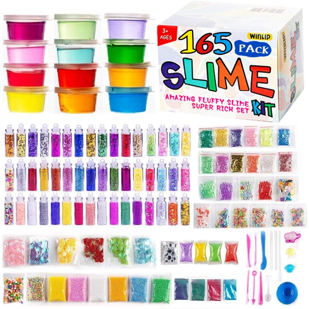 165 Pack DIY Slime Kit, Slime Making Kit Includes 12 Crystal Slime, Glitter Jars, Charms, Sugar Paper, Foam Beads, Fishbowl Beads, Toy Cups, Slices, Mica Powders and Tools for Kids Girls by WINLIP big slime kit