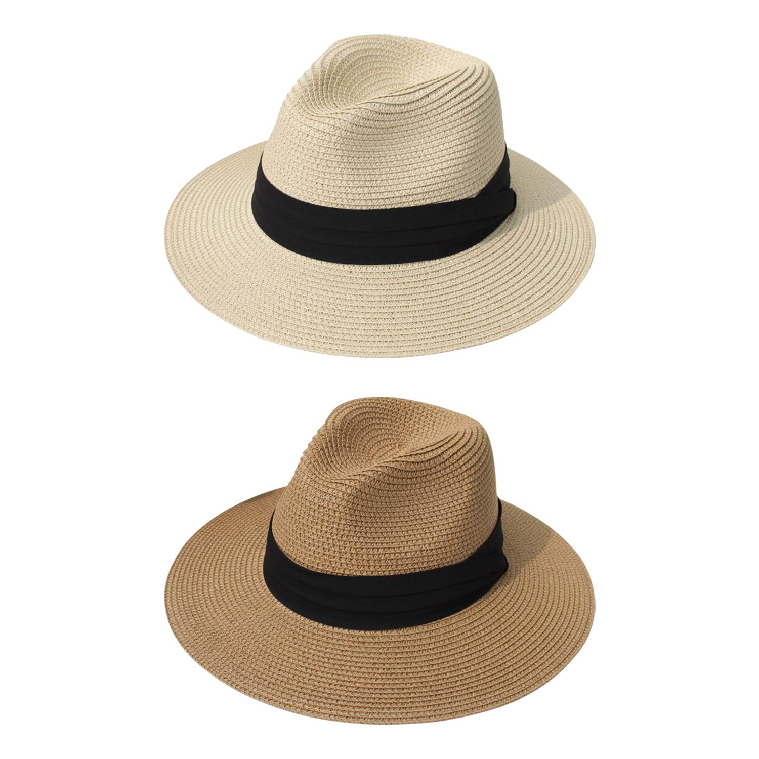 DRESHOW Women Straw Panama Hat Fedora Beach Sun Hat Wide Brim Straw Roll up Hat UPF 50+ (2 Pack Fedora: Khaki, Beige A) by DRESHOW