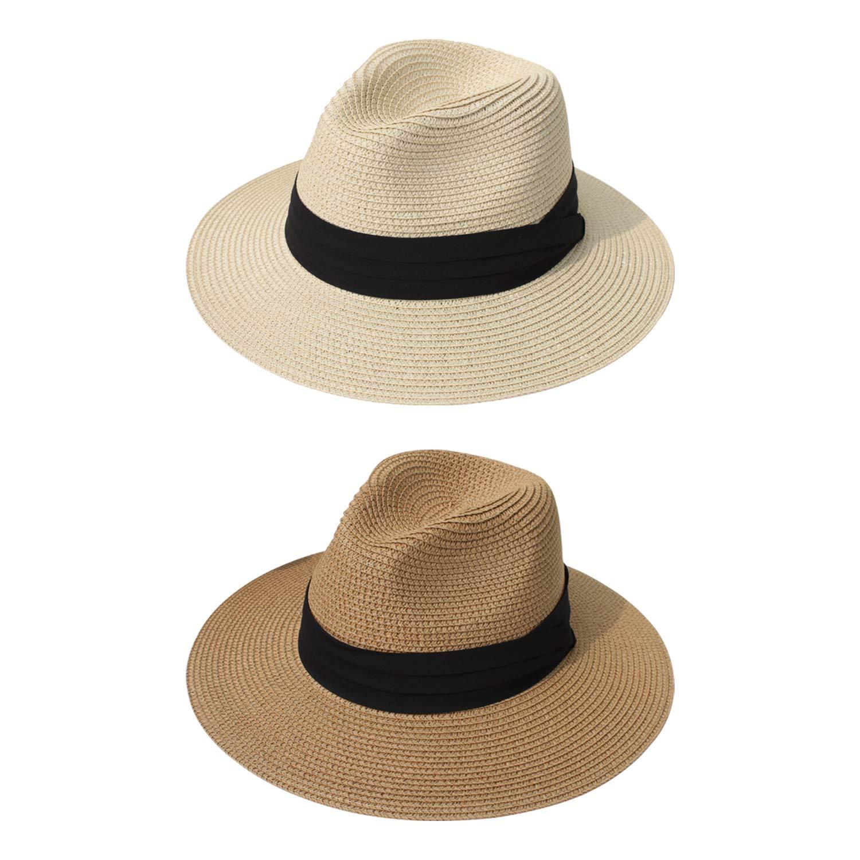 DRESHOW Women Straw Panama Hat Fedora Beach Sun Hat Wide Brim Straw Roll up Hat UPF 50+ (2 Pack Fedora: Khaki, Beige)