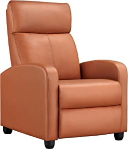 YAHEETECH Recliner Chair PU Leather Recliner Sofa Home Theater Seating with Lumbar Support Overstuffed High-Density Sponge Push Tan Recliners