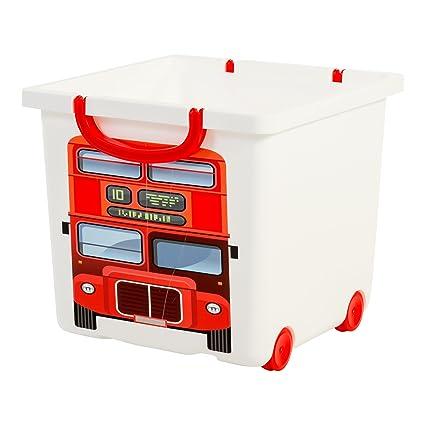 Iris 123304.0 diseño de autobús de Londres caja de almacenaje para niños con ruedas y asa