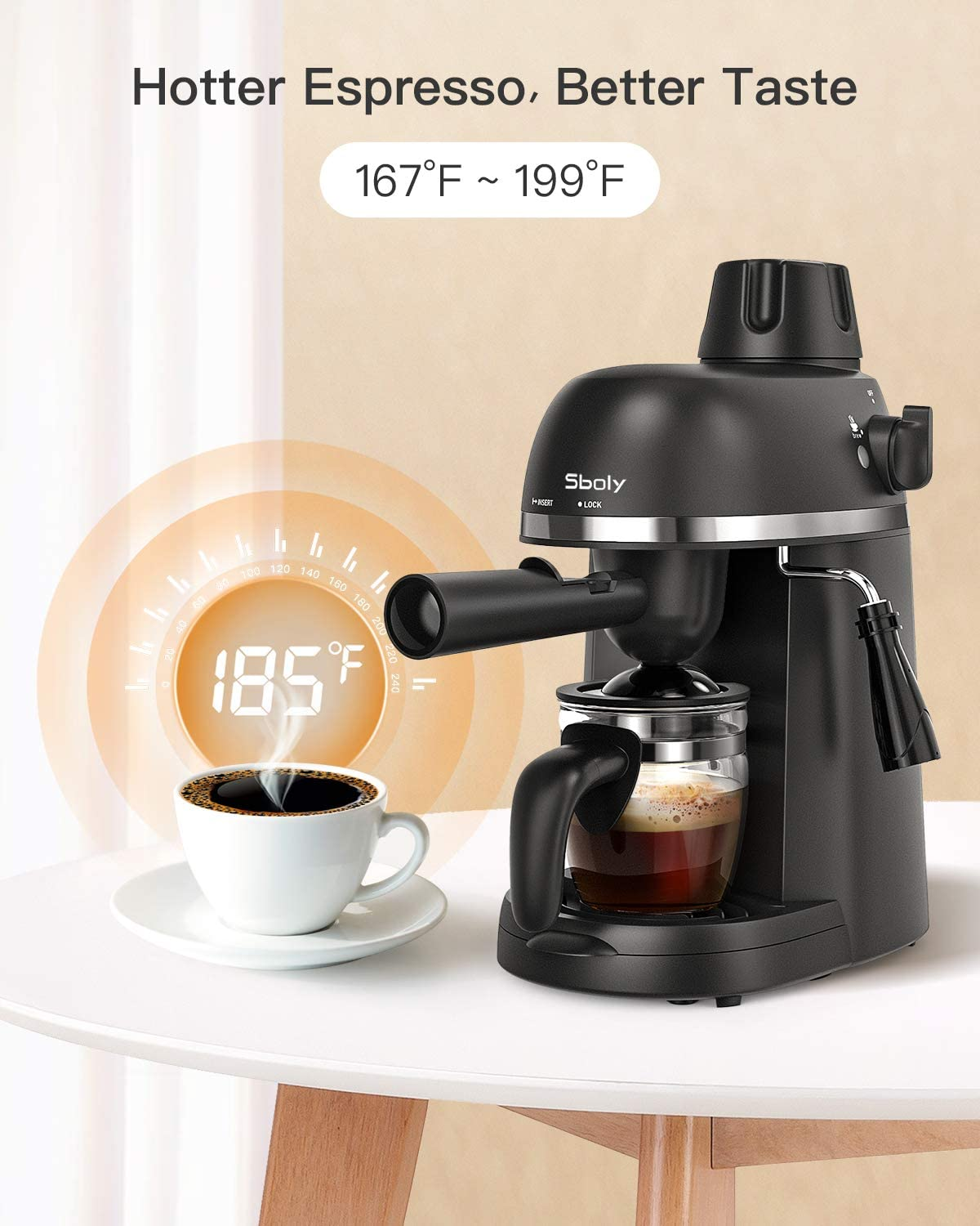 Sboly Espresso Machine with Milk Frother, 1-4 Cup Expresso Maker Latte Cappuccino Machine, Carafe included