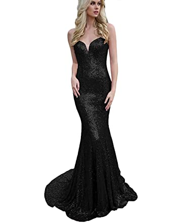 2018 Sequin Prom Dress Spaghetti Strap Sweetheart Backless Long Evening Gown Black Size 6