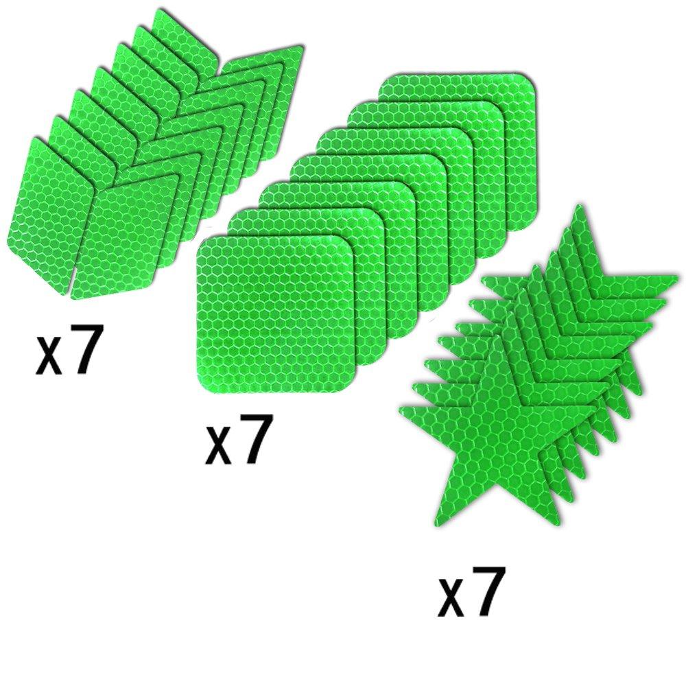 Muchkey Adhesivas Reflectantes Impermeable para se/ñalizaci/ón Casco 21pcs Verde