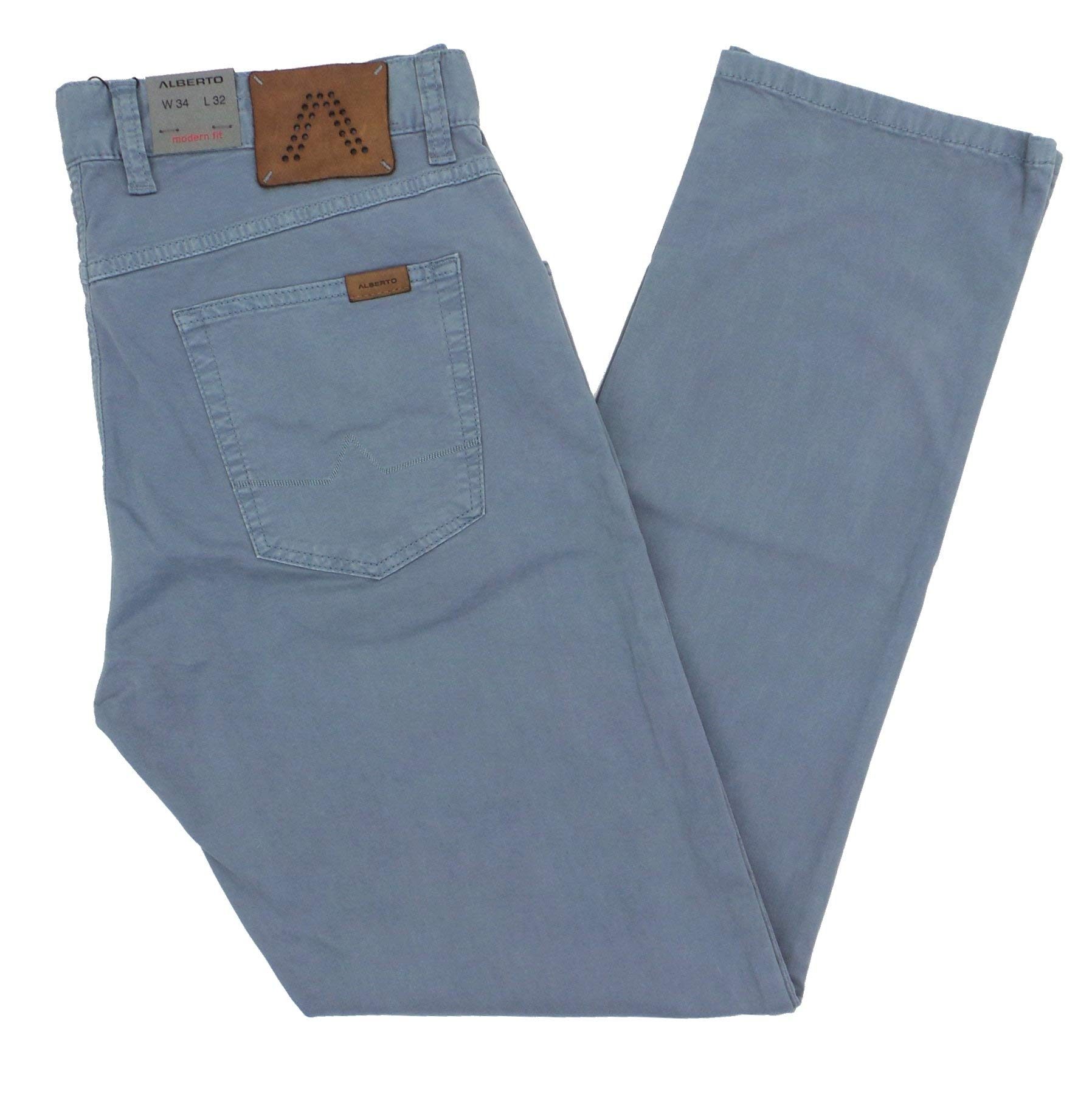 Alberto Stone 1703 Modern Fit Broken Twill Dynamic Superfit Pants Light Blue