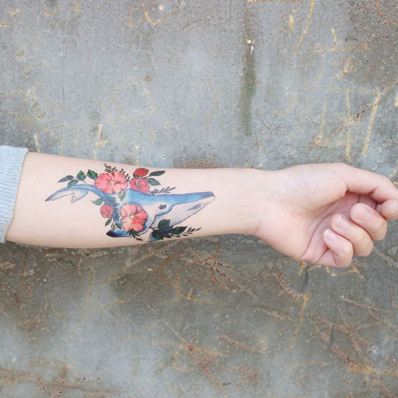 Gato Tatuaje Falso Pegatinas Impermeable, Delf/ín Regalo para la Fiesta de Cumplea/ños Navidad de Ni/ños Ni/ñas Infantiles Etiqueta Flor 15 Hojas SZSMART Tatuajes Temporales Ballena