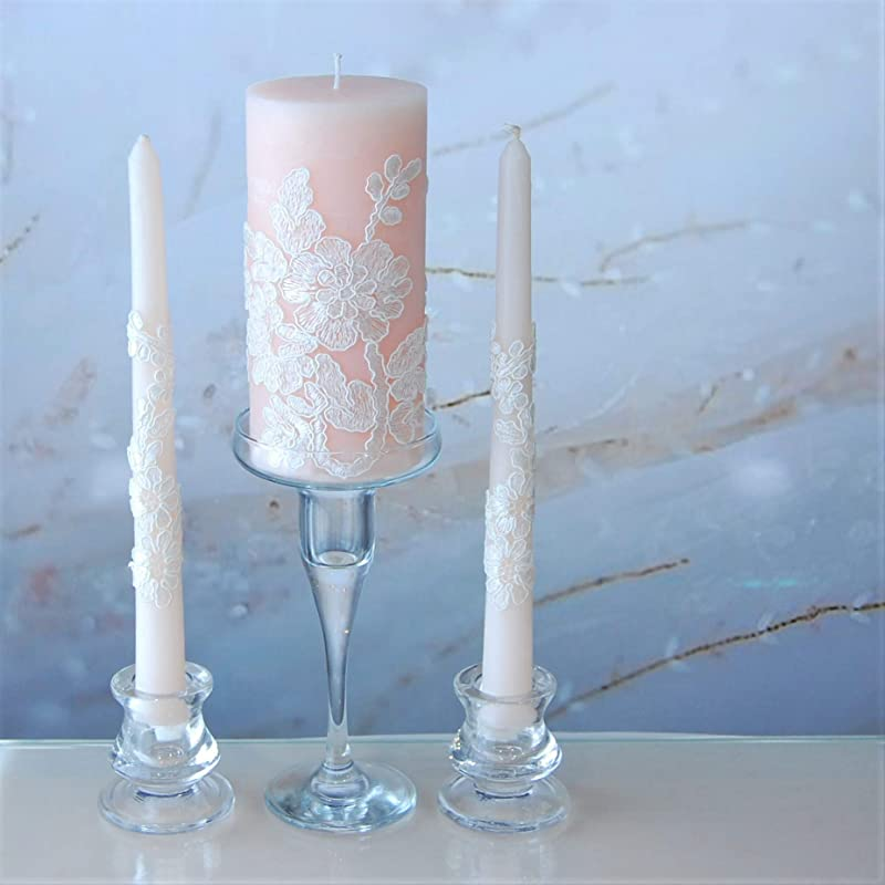 Personalized Glasses Blush Unity Candle Set Wedding Gift Anniversary Gift Bridal Party Gift Candle Holders Blush Wedding Blush Wedding Set