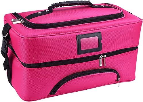 Bolso de Cosméticos Portable Organizador, SbuyCoo Maletín para Maquillaje, Estuche de maquillaje, Estuche de cosméticos, 43 x 23 x 23 cm, 2 bandejas, Rosado: Amazon.es: Equipaje