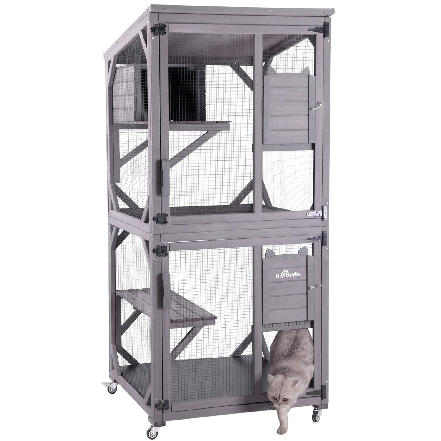 Aivituvin Wooden Cat House Outdoor And Indoor Run Large Cat Enclosure On Wheels 70 9 Upgraded Version Catio Cage With Buy Online In Cayman Islands At Cayman Desertcart Com Productid 229824839