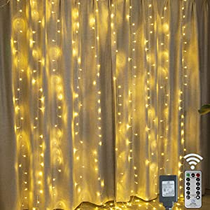 300 LED Curtain Lights Plug in Connectable Window Fairy Lights 9.8 ft × 9.8 ft Waterproof Twinkle Lights 8 Modes Hanging Lights for Indoor Outdoor Wall Bedroom Party Wedding Backdrop Decor-Warm White