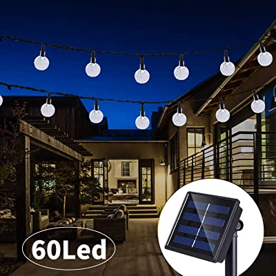 36 Ft 60Led Solar String Lights Globe Crystal Balls Waterproof LED Fairy Lights for Garden Yard Home Party Wedding Decoration Cool White : Garden & Outdoor