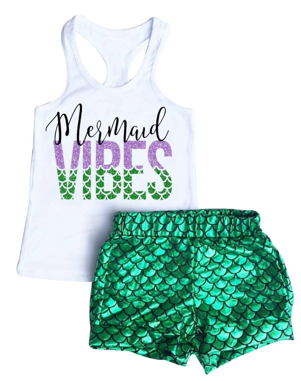 2Pcs Baby Girls Mermaid Vibes Print Vest Tops Fish Scale Short Pants Sets Size 12-18Months/Tag90 (White)