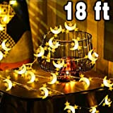 Xenzy Moon String Light, 18ft 50 LED Thanksgiving Decoration Lights Waterproof Battery Operated Outdoor Indoor LED String Light Bedroom Star Fairy String Light Party Christmas Decor, Warm White