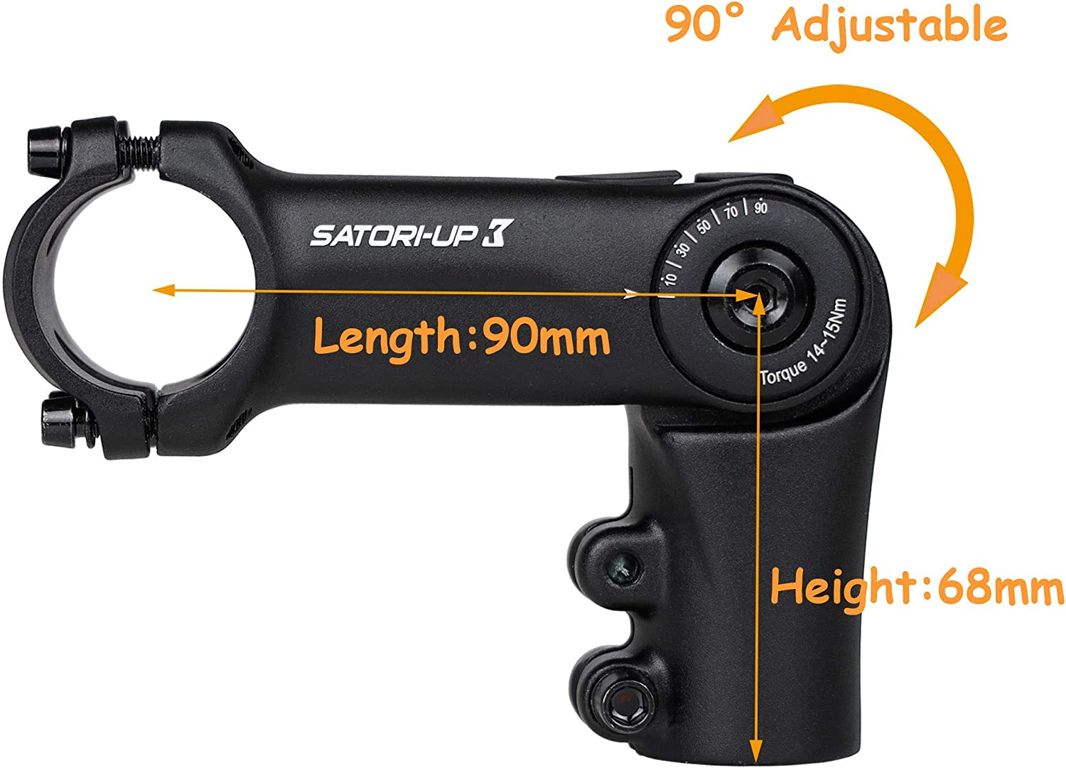 Satori UP3 Bike Bicycle Riser Extension Adjustable Handlebar Stem 1-1//8 x 31.8mm x 90mm