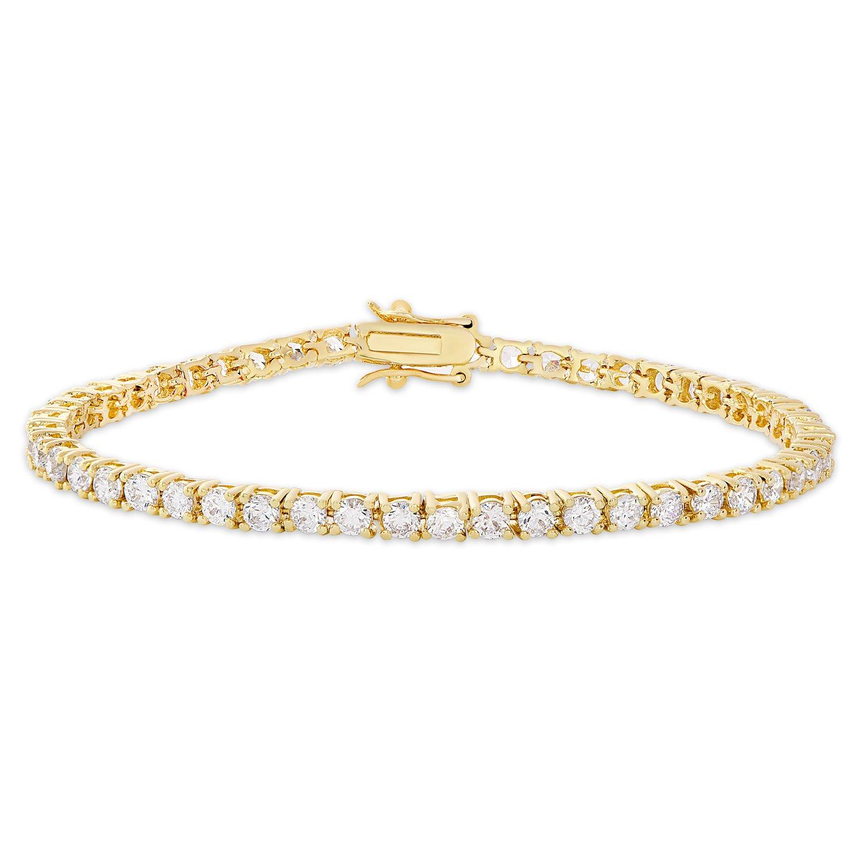 Dolce Giavonna Cubic Zirconia Classic Tennis Bracelet, 7.25'' (Gold)