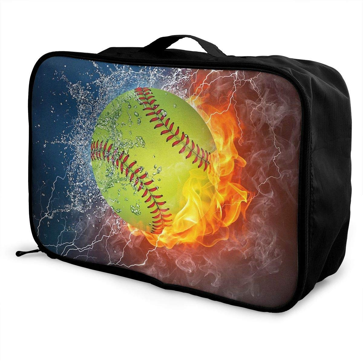 Portable Luggage Duffel Bag Fire Softball Travel Bags Carry-on In Trolley Handle