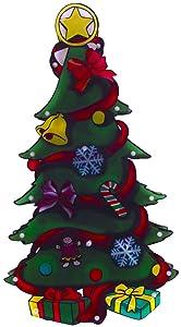 Finestra Silhouette Motivo Albero con 20Mini luci per Interni decorazioni di Natale