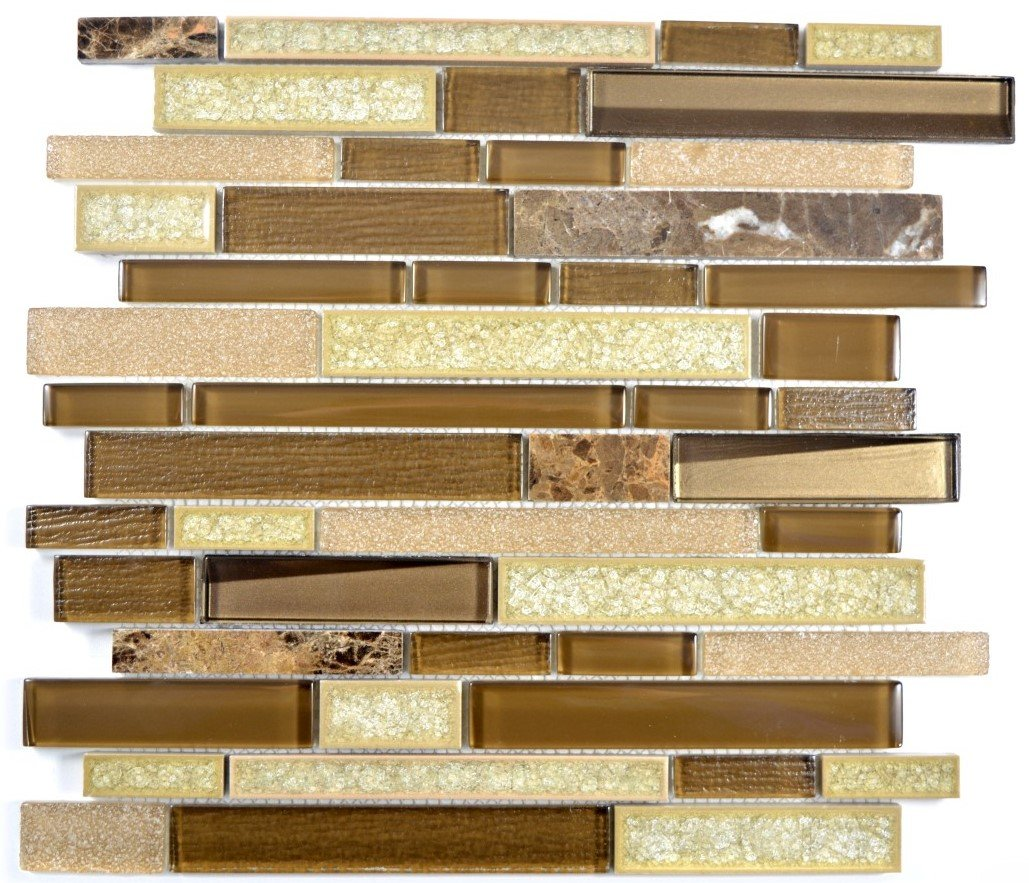 Mosaik Fliese Glas wei/ß grau braun f/ür WAND BAD DUSCHE K/ÜCHE FLIESENSPIEGEL THEKENVERKLEIDUNG BADEWANNENVERKLEIDUNG Mosaikmatte Mosaikplatte 10 Mosaikmatten