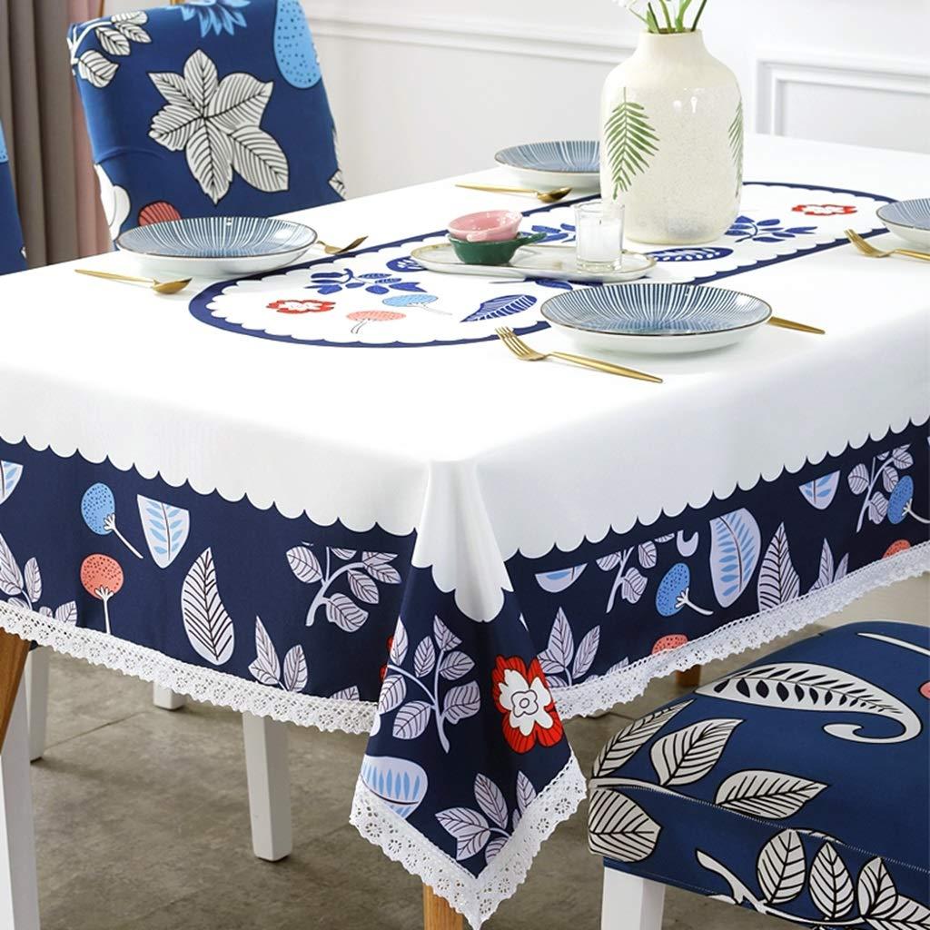 Elegante Tovaglia Impermeabile Romantica ed Elegante Adatta per la Cena di Nozze Tavolo Tovaglia Rettangolare Blu e Bianco 743 Size : 110cm*160cm Wyx 744 Tovaglia