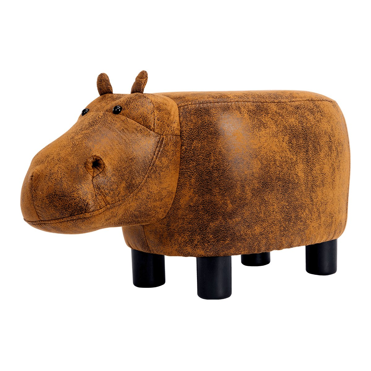 Guteen Upholstered Ride-on Toy Seat Ottoman Footrest Stool with Vivid Adorable Animal-Like Features(Brown Hippo)