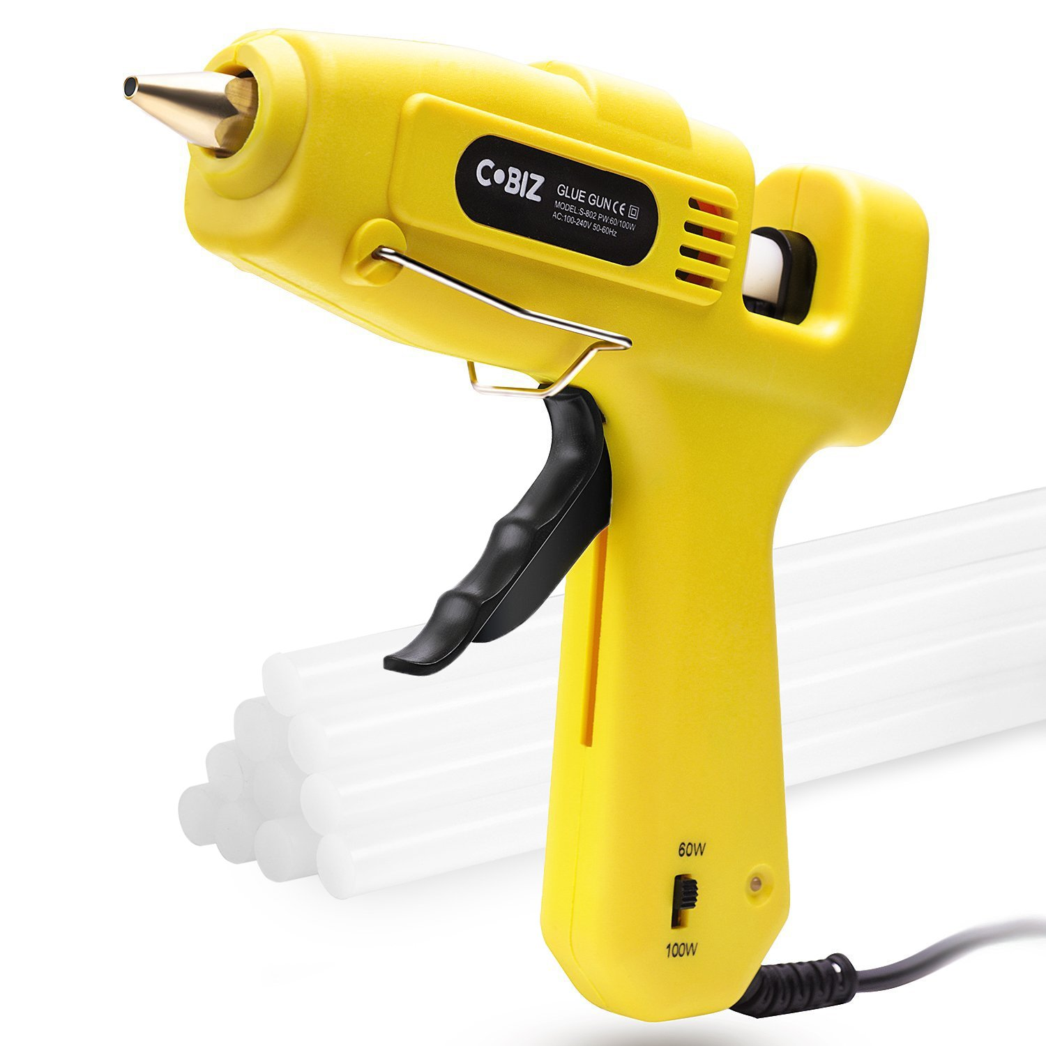 Hot Glue Gun, Cobiz Full Size (Not Mini) 60/100W Dual Power High Temp Heavy Duty Melt Glue Gun Kit with 10 Pcs Premium Glue Sticks(0.43'' x 8'') for Arts & Crafts Use,Christmas Decoration/Gifts