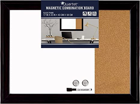 Amazon Com Quartet Combination Magnetic Whiteboard Corkboard 17 X 23 Combo White Board Cork Board Home Décor Black Frame 79283 Office Products