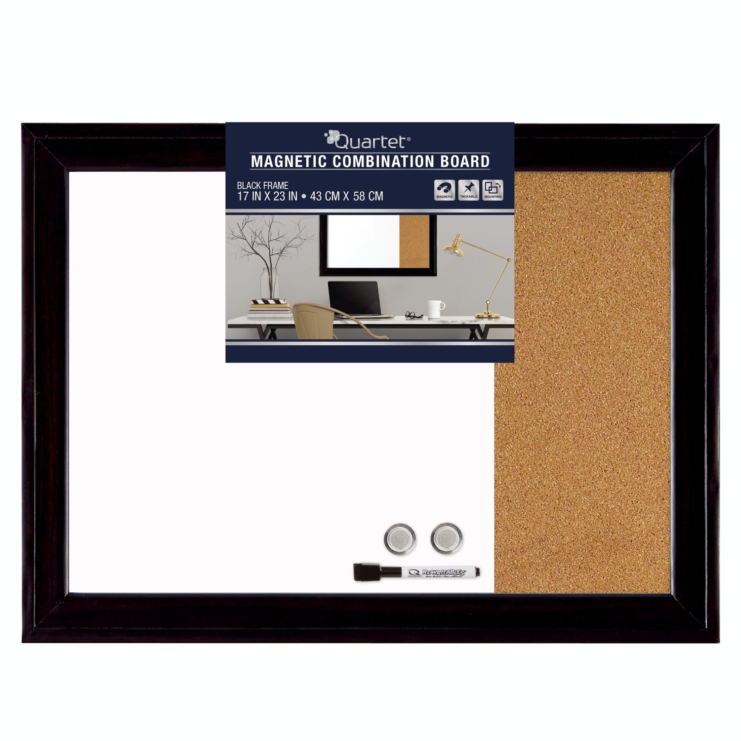 Quartet Magnetic Dry Erase Board Cork Board, 17 x 23'', Whiteboard Corkboard, Home Décor, Black Frame (79283)