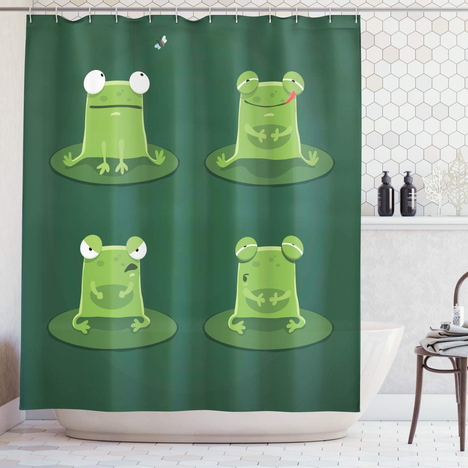 Funny Decor Shower Curtain Set,Funny Muzzy Frog on Lily Pad in Pond Hunting Tasty Fly Expressions Cartoon Animal Theme,Bathroom Decor Set with Hooks, 72 Inches Extra long,Machine Washable,Bottle Green