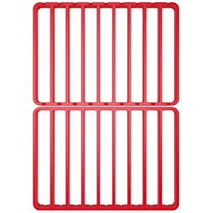"""STAN BOUTIQUE Roasting Racks for Oven Use with Pan, Nonstick Cooking/Baking/Cooling Rack Fits Half Sheet Pan - (12"""" x 17""""), Red Silicone"""