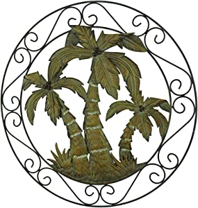 Zeckos Antique Bronze Scroll Motif Tropical Palm Trees Wall Hanging