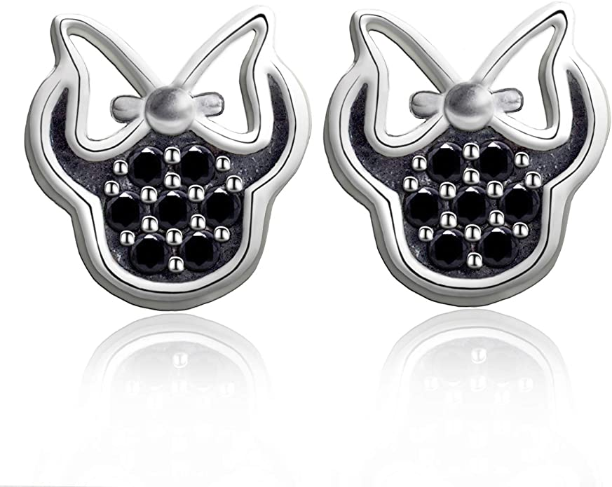 Elensan 925 Silver Sparkling Mouse Studs Earring For Women Teen Girls Black Jewelry Amazon Com