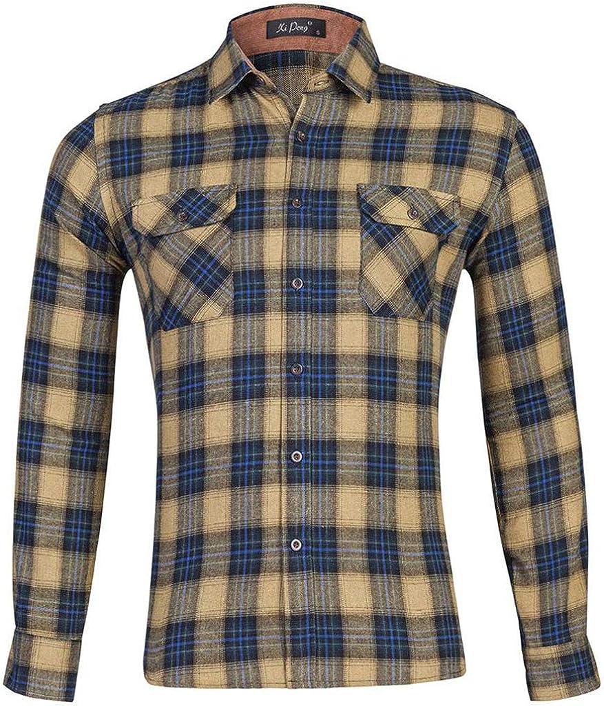 Fashion Men Plaid Business Casual Long Sleeve Turn-Down Collar Shirts