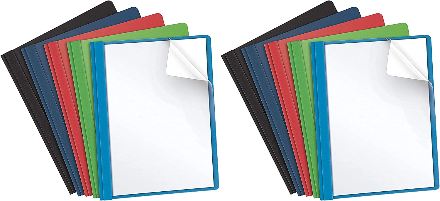 Letter Size Assorted Colors 2 Pack Oxford Clear Front Report Covers 25 per Box