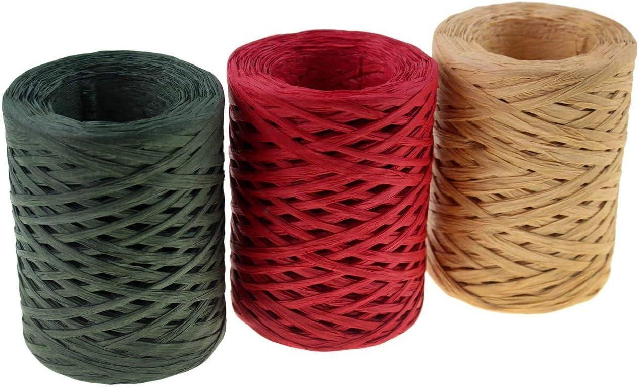 3 rouleaux pour 3 couleurs de 1080 pieds pour lemballage cadeau ficelle de papier demballage pour No/ël. Lot de 3 rouleaux de ruban de raphia