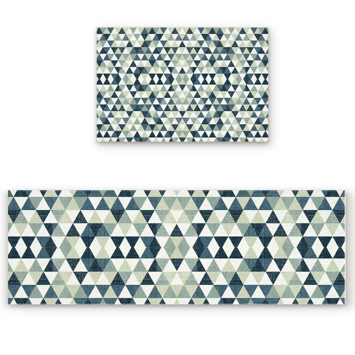 Northern Europe 5san3922 19.7\ Savannan 2 Piece Non-Slip Kitchen Bathroom Entrance Mat Absorbent Durable Floor Doormat Runner Rug Set - Geometric Pattern