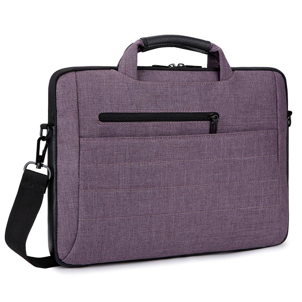 Brinch 15-15.6 Inch Multi-functional Suit Fabric Portable Laptop Sleeve Case Messenger Bag Briefcase for Laptop, Tablet, Macbook, Notebook - Dark Purple