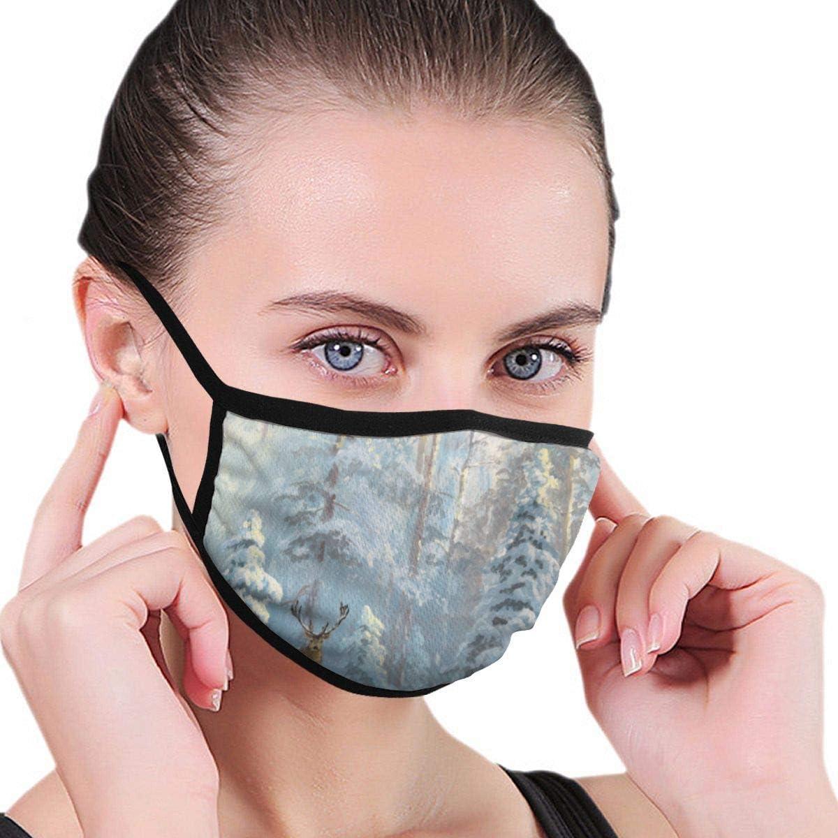 Máscara de Boca de Bosque de Invierno, mascarilla de Oreja para Adultos Unisex, máscara de Moda de Ciclismo de esquí cálido