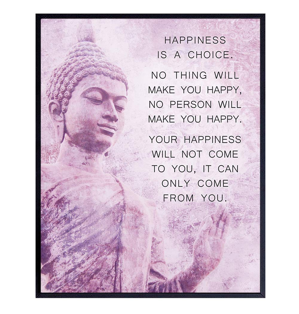 Buddhism Happiness Quote - Inspirational Saying Poster - Zen New Age Wall Art Decor - Home Decoration for Spa, Meditation Room, Yoga Studio - Gift for Women, Buddhist, Buddha Fan - Pink, Purple