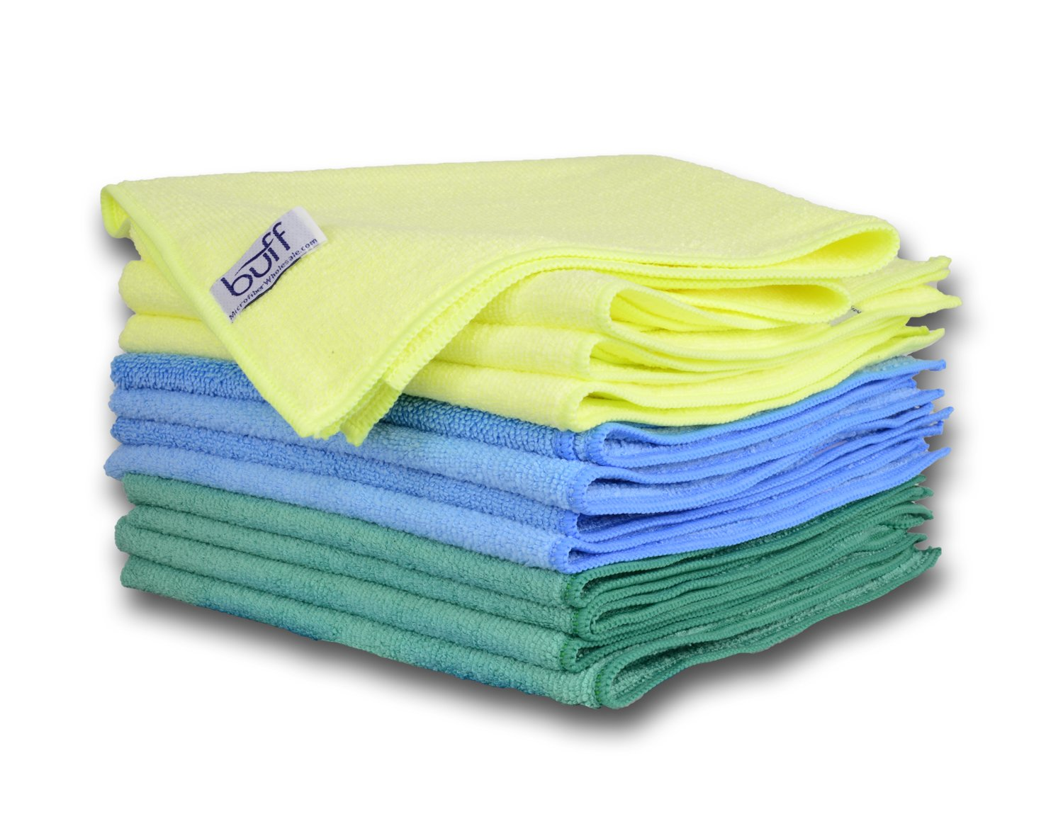 Multi-Color Microfiber Towels 12 Pack by Buff Pro | Professional House-Hold Cleaning Cloths For High Quality Results | large size 16'' x 16'' Blue, Yellow, Green