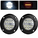 "Liteway 2PcsX48W 4"" Round CREE Led Light Bar Fog Lights With Turn Signal Lamp Flood Spot Combo Beam Driving Lamp Work Light Waterproof Flush Mount for Jeep Truck Tacoma Bumper ATV UTV"