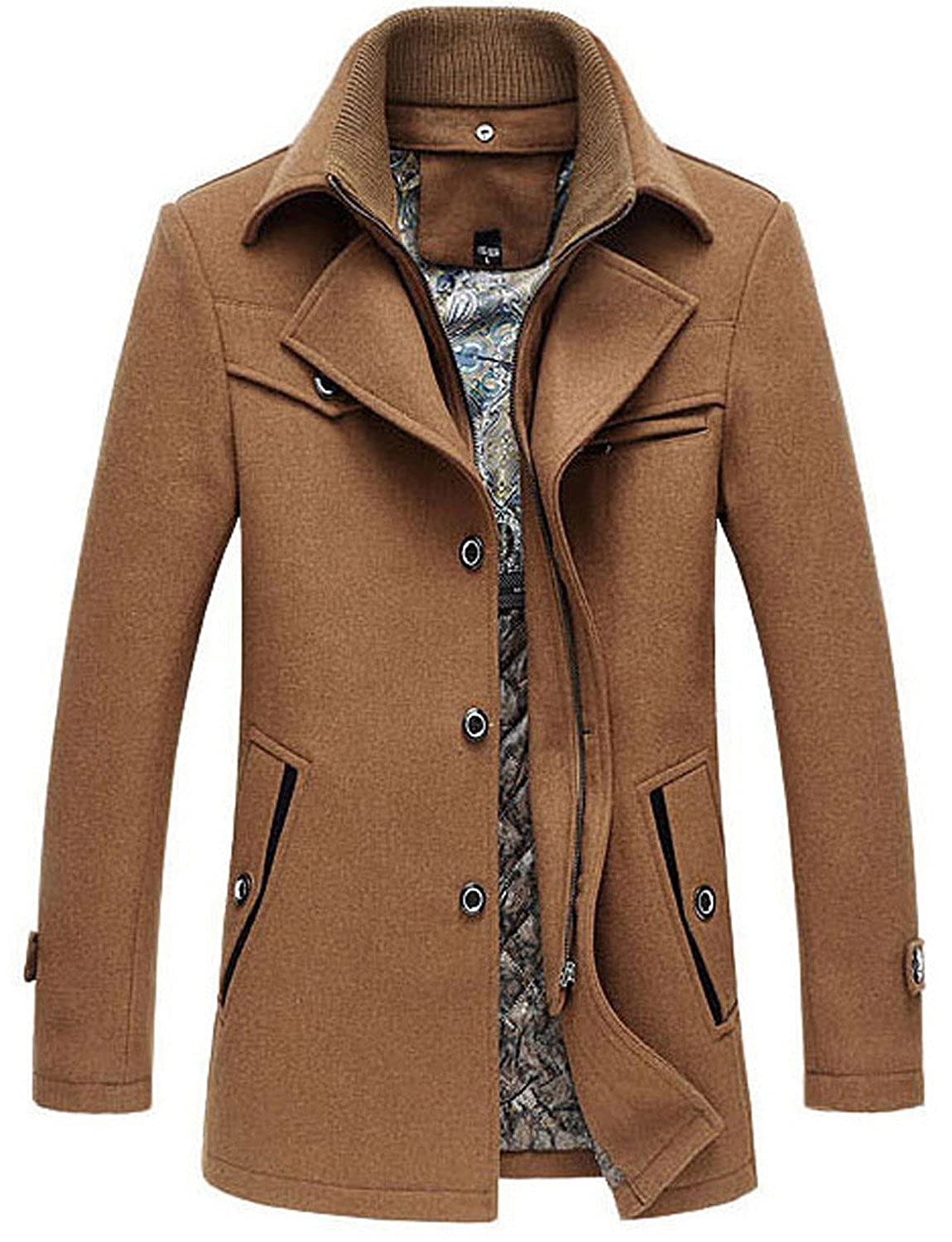 Cloudstyle Autumn and Winter 2016 Casual Men's Woolen Coat Middle-Aged Single Breasted Coat Men Wool Jackets Coats by YFFUSHI YD1153