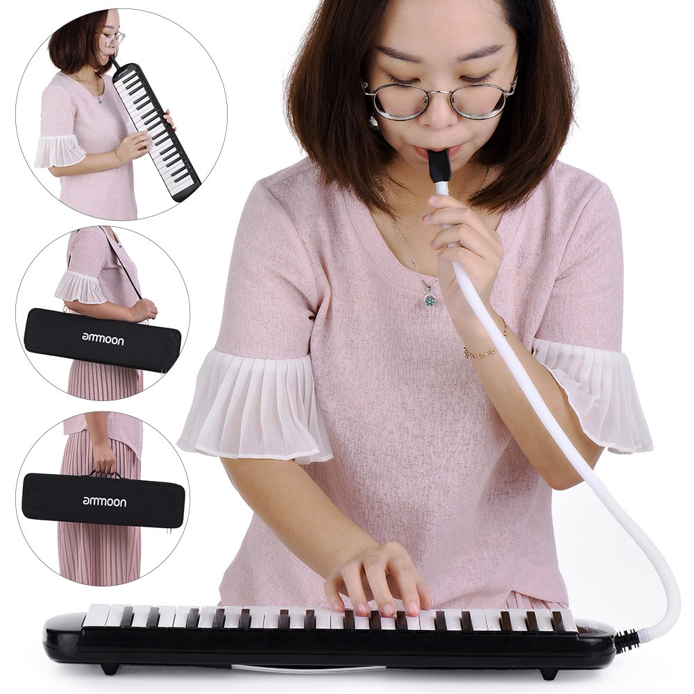 ammoon 37 Key Melodica Instrument with Carry Case for Music Lovers Beginners-Black by ammoon (Image #4)