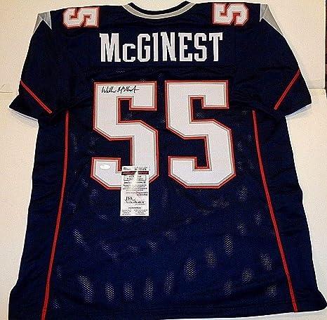 sale retailer 2b82b 2b96f Willie Mcginest New England Patriots Autographed Signed Blue ...