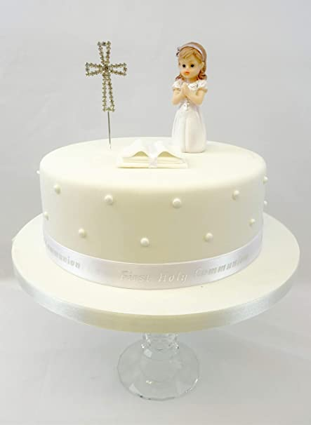 First Holy Communion Edible Silver Bible Kneeling Praying Girl /& Ribbon Cake Decoration Topper Ornament